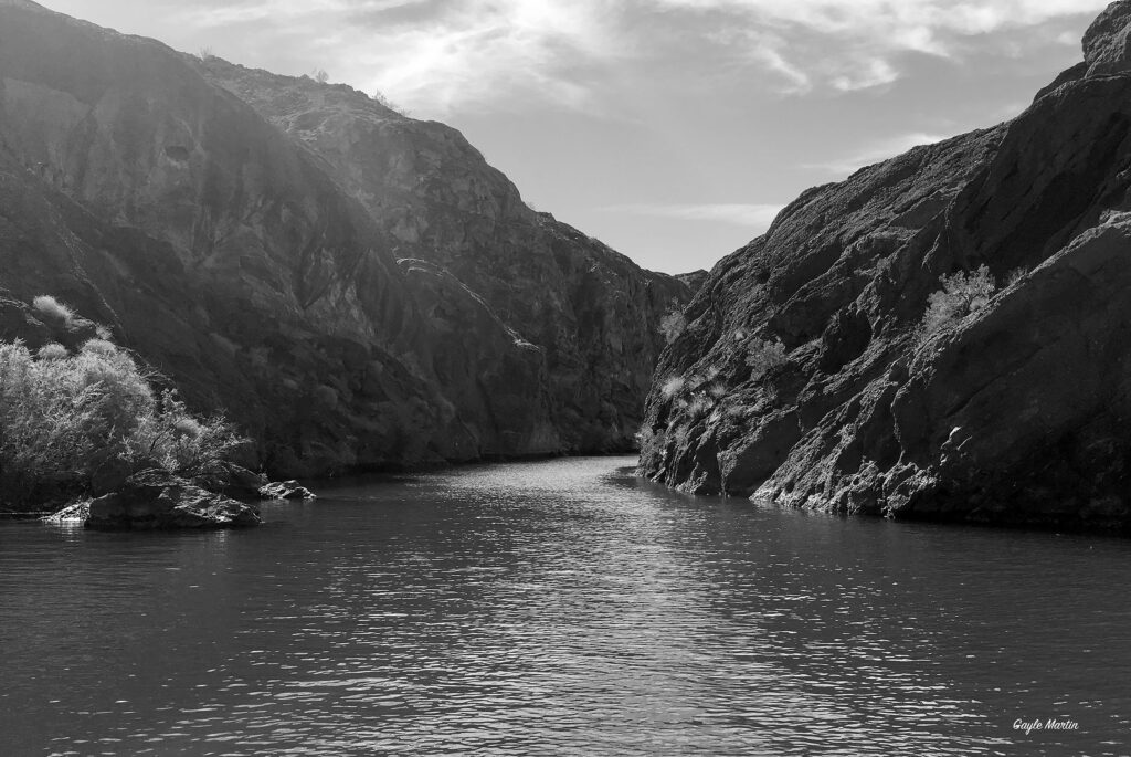 Black and white image of Lake Havasu, Arizona.