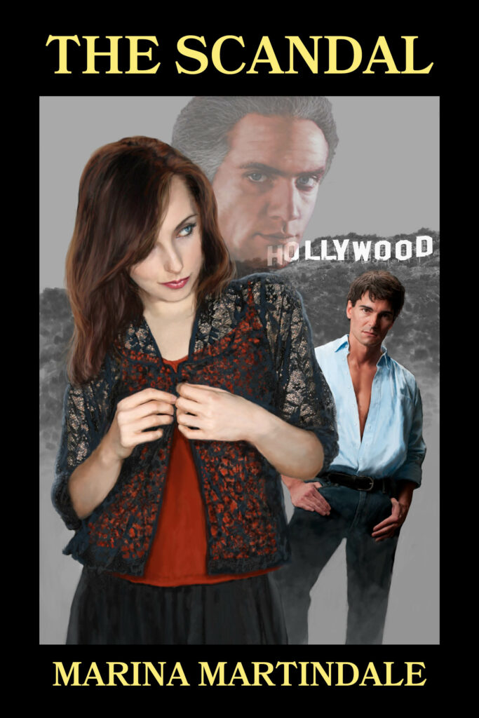 A book cover feature a woman buttoning her blouse, with two men and the Hollywood sign behind her.