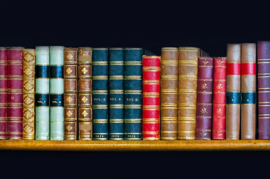 A photo of books on a shelf.