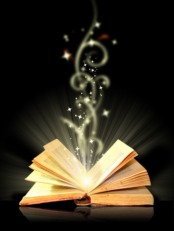 Image of an open book with stars rising out.